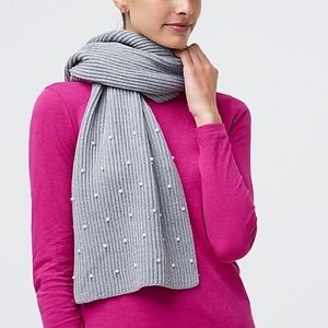 NWT J. Crew Pearl ribbed knit scarf